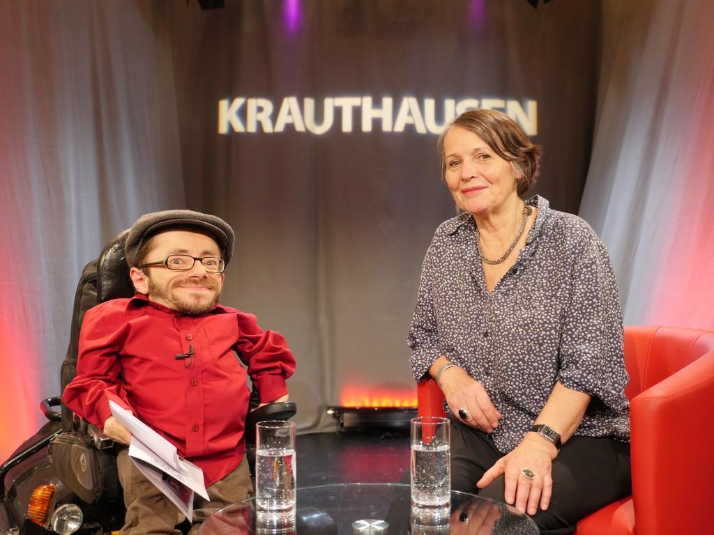 Talkgast Gisela Höhne mit Raul Krauthausen